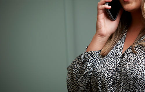 A woman on the phone.