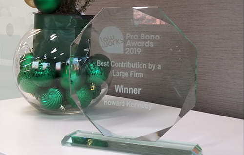Law Works Pro Bono Award 2019. Text on award reads
