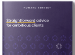 Howard Kennedy brochure mock-up with title: Straightforward advice for ambitious clients.